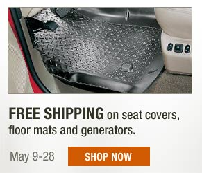 Free Shipping on seat covers, floor mats and generators. May 9-28. Shop now